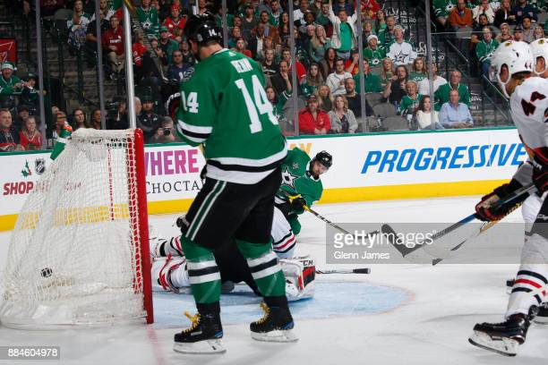 Alexander Radulov of the Dallas Stars scores a goal against the Chicago Blackhawks at the American Airlines Center on December 2 2017 in Dallas Texas
