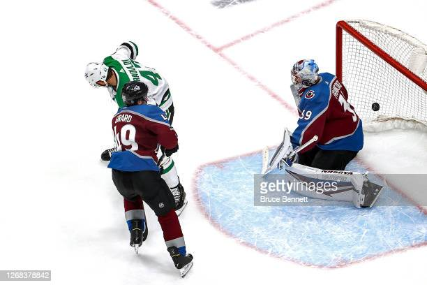 Alexander Radulov of the Dallas Stars scores a goal past Pavel Francouz of the Colorado Avalanche during the second period in Game Two of the Western...
