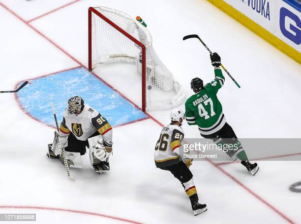 Alexander Radulov of the Dallas Stars scores the gamewinning goal past Robin Lehner of the Vegas Golden Knights during the first overtime period to...