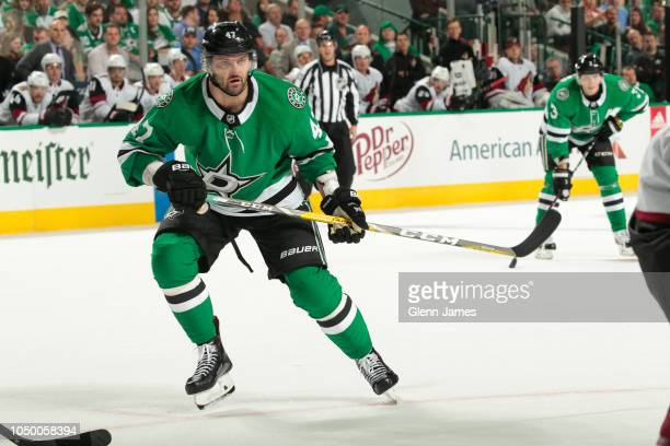 Alexander Radulov of the Dallas Stars skates against the Arizona Coyotes at the American Airlines Center on October 4 2018 in Dallas Texas
