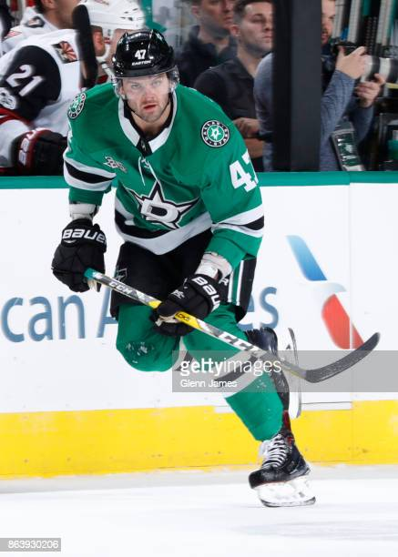 Alexander Radulov of the Dallas Stars skates against the Arizona Coyotes at the American Airlines Center on October 17 2017 in Dallas Texas