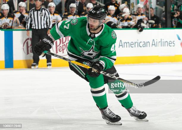 Alexander Radulov of the Dallas Stars skates against the Boston Bruins at the American Airlines Center on November 16 2018 in Dallas Texas