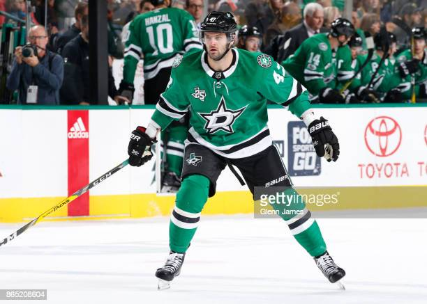 Alexander Radulov of the Dallas Stars skates against the Carolina Hurricanes at the American Airlines Center on October 21 2017 in Dallas Texas