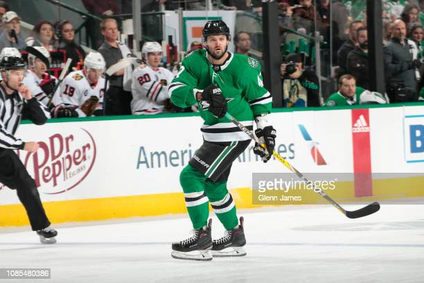 Alexander Radulov of the Dallas Stars skates against the Chicago Blackhawks at the American Airlines Center on December 20 2018 in Dallas Texas
