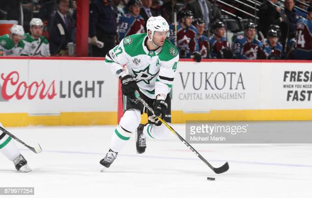 Alexander Radulov of the Dallas Stars skates against the Colorado Avalanche at the Pepsi Center on November 22 2017 in Denver Colorado The Avalanche...