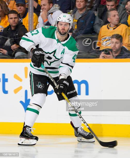 Alexander Radulov of the Dallas Stars skates against the Nashville Predators at Bridgestone Arena on December 27 2018 in Nashville Tennessee