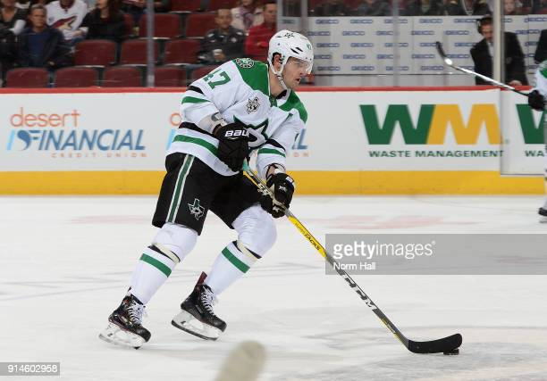Alexander Radulov of the Dallas Stars skates with the puck against the Arizona Coyotes at Gila River Arena on February 1 2018 in Glendale Arizona