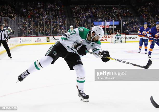 Alexander Radulov of the Dallas Stars takes the shot against the New York Islanders at the Barclays Center on December 13 2017 in the Brooklyn...