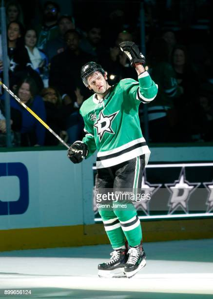 Alexander Radulov of the Dallas Stars waves to the fans after being named the number one star of the night against the St Louis Blues at the American...