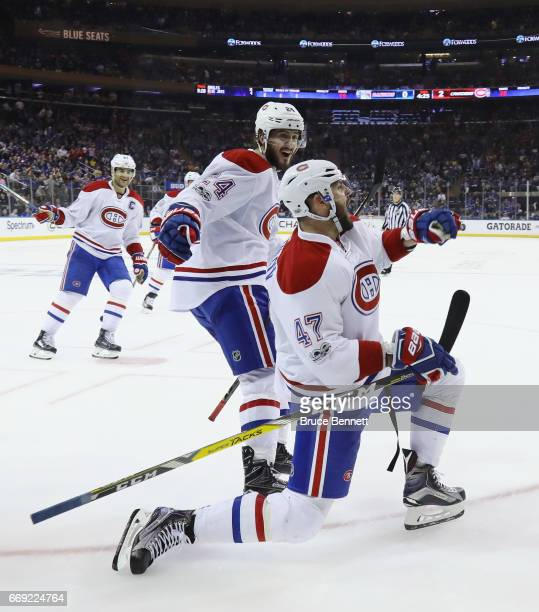 Alexander Radulov of the Montreal Canadiens celebrtaes his goal at 1535 of the third period against the New York Rangers in Game Three of the Eastern...