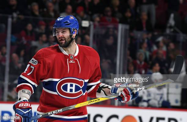 Alexander Radulov of the Montreal Canadiens during the NHL game against the Tampa Bay Lightning in the NHL game at the Bell Centre on April 7 2017 in...
