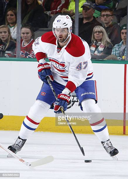 Alexander Radulov of the Montreal Canadiens handles the puck against the Dallas Stars at the American Airlines Center on January 4 2017 in Dallas...