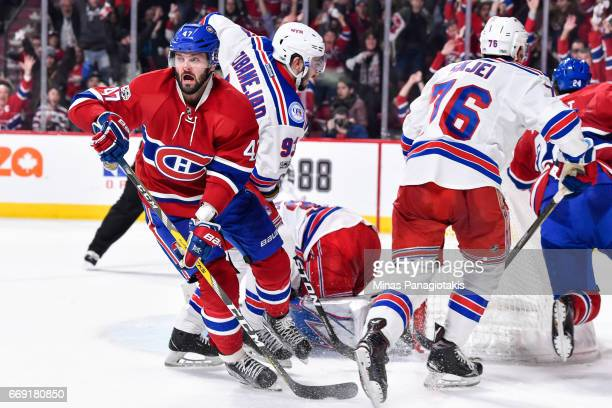 Alexander Radulov of the Montreal Canadiens reacts after scoring the game winning goal in overtime against the New York Rangers in Game Two of the...