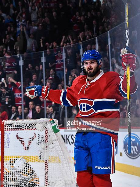 Alexander Radulov of the Montreal Canadiens reacts on a goal during the NHL game against the Boston Bruins at the Bell Centre on November 8 2016 in...