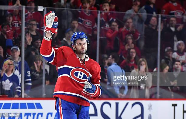 Alexander Radulov of the Montreal Canadiens salutes the crowd after being named the first star of the game against the Toronto Maple Leafs in the NHL...