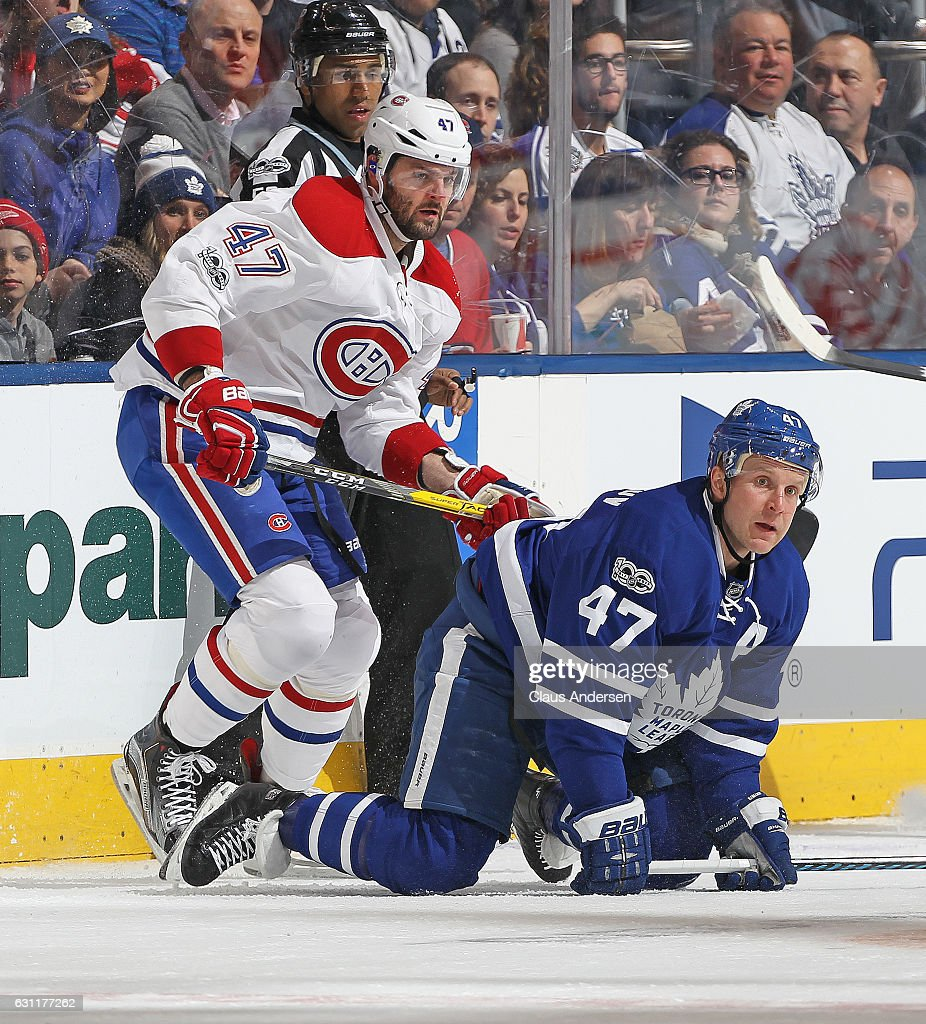 Alexander Radulov #47 of the Montreal Canadiens skates against Leo Komarov #47 of the Toronto Maple Leafs during an NHL game at the Air Canada Centre on January 7, 2017 in Toronto,Ontario, Canada. The Canadiens defeated the Maple Leafs 5-3.