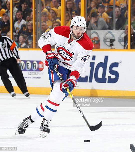 Alexander Radulov of the Montreal Canadiens skates against the Nashville Predators during an NHL game at Bridgestone Arena on January 3 2017 in...