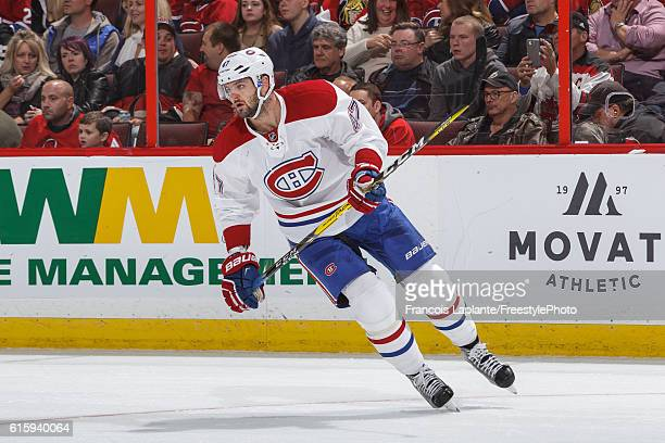 Alexander Radulov of the Montreal Canadiens skates against the Ottawa Senators in an NHL game at Canadian Tire Centre on October 15 2016 in Ottawa...