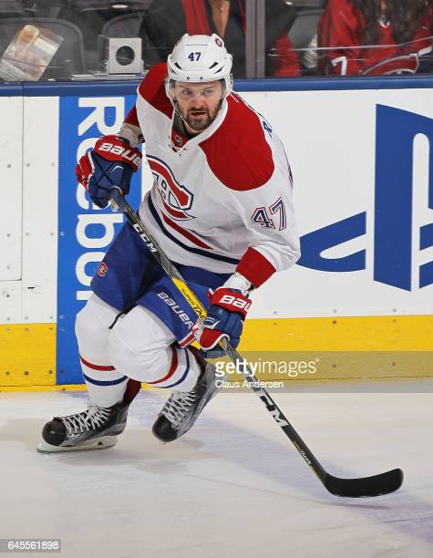 Alexander Radulov of the Montreal Canadiens skates during the warmup prior to playing against the Toronto Maple Leafs in an NHL game at the Air...