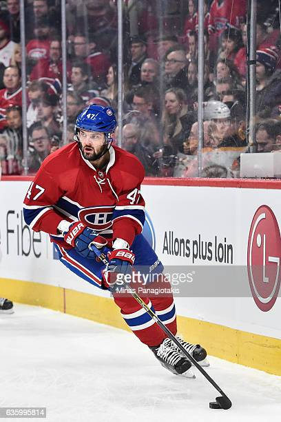 Alexander Radulov of the Montreal Canadiens skates the puck during the NHL game against the Boston Bruins at the Bell Centre on December 12 2016 in...