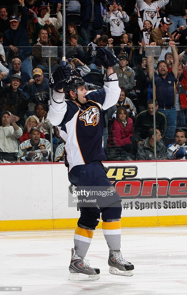 Alexander Radulov #47 of the Nashville Predators celebrates a goal against the St. Louis Blues on January 21, 2008 at the Sommet Center in Nashville, Tennessee.
