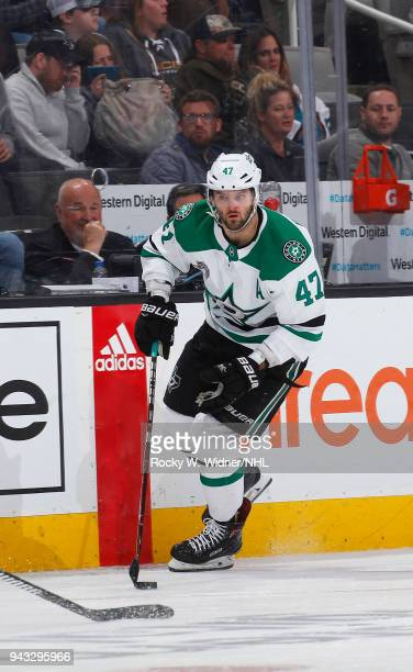 Alexander Radulov of the San Jose Sharks skates with the puck against the Dallas Stars at SAP Center on April 3 2018 in San Jose California Alexander...
