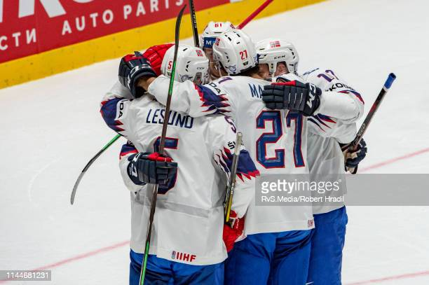 Alexander Reichenberg of Norway celebrates his goal with teammates during the 2019 IIHF Ice Hockey World Championship Slovakia group game between...