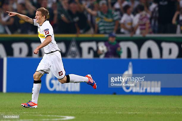 Alexander Ring of Moenchengladbach celebrates the first goal during the UEFA Champions League playoff first leg match between Borussia...