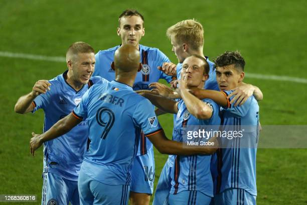 Alexander Ring of New York City celebrates his goal at the 59th minute against the Columbus Crew at Red Bull Arena on August 24, 2020 in Harrison,...