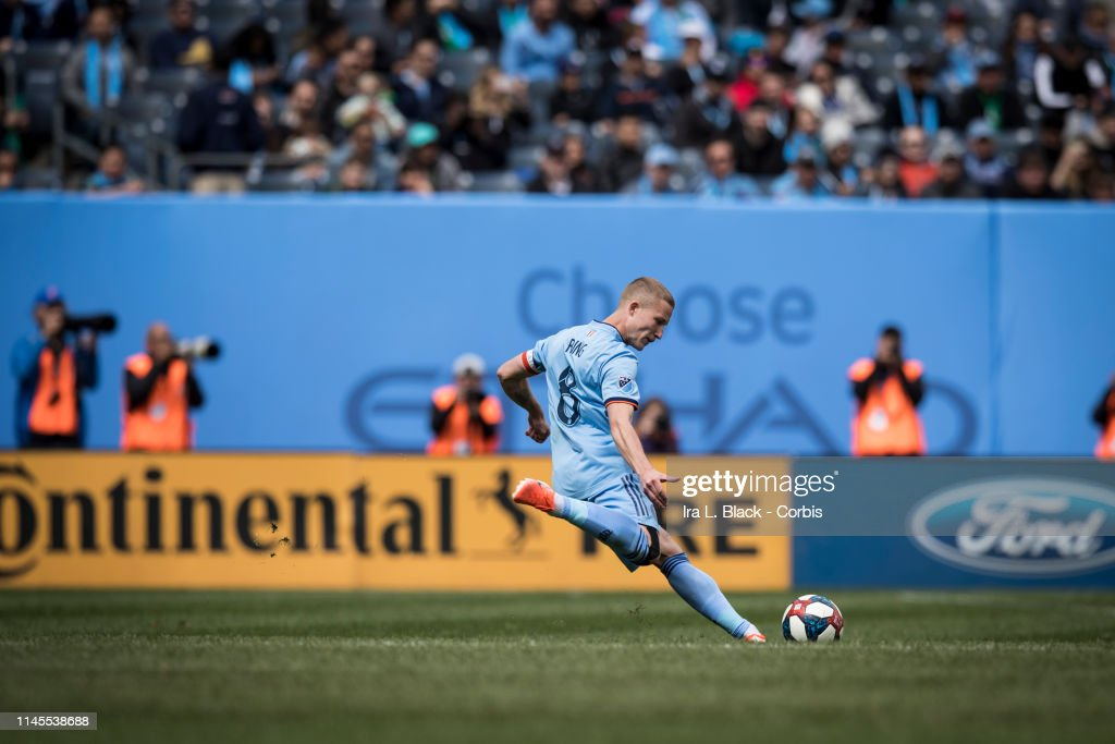 Alexander Ring of New York City clears the ball during the