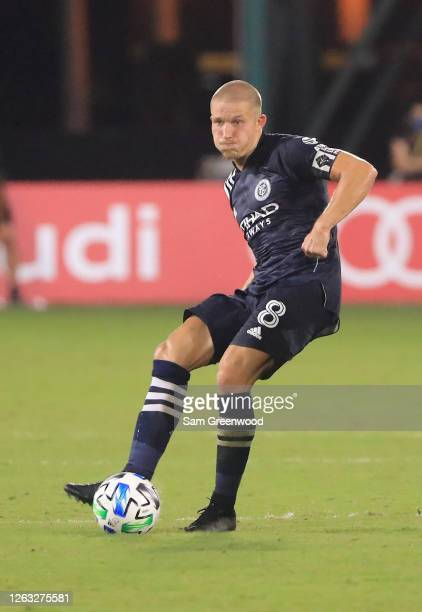 Alexander Ring of New York City controls the ball during a quarter final match of MLS Is Back Tournament between New York City and Portland Timbers...