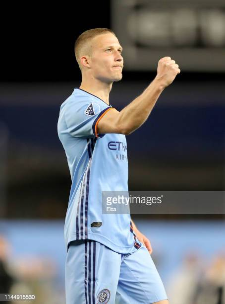 Alexander Ring of New York City FC celebrates the win over the Chicago Fire at Yankee Stadium on April 24 2019 in the Bronx borough of New York...