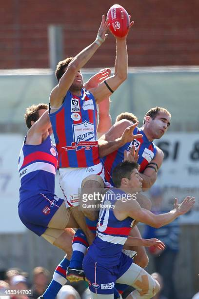 Alexander Robinson of Port Melbourne marks during the VFL Preliminary Final match between the Footscray Bulldogs and Port Melbourne at North Port...