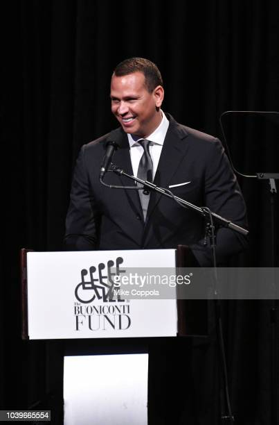 Alexander Rodriguez speaks onstage during the 33rd Annual Great Sports Legends Dinner which raised millions of dollars for the Buoniconti Fund to...