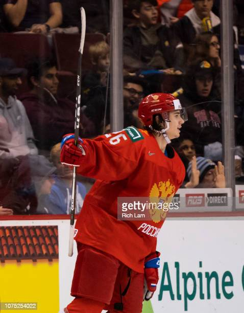 Alexander Romanov of Russia celebrates after scoring a goal against Denmark in Group A hockey action of the 2019 IIHF World Junior Championship...