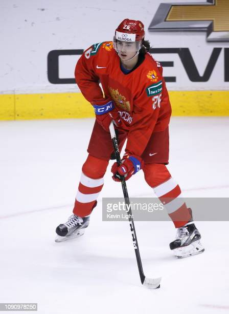 Alexander Romanov of Russia skates against the United States during a semifinal game at the IIHF World Junior Championships at Rogers Arena on...