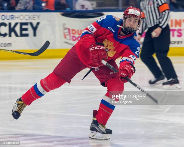 Alexander Romanov of the Russian Nationals passes the puck against the USA Nationals during the 2018 Under18 Five Nations Tournament game at USA...