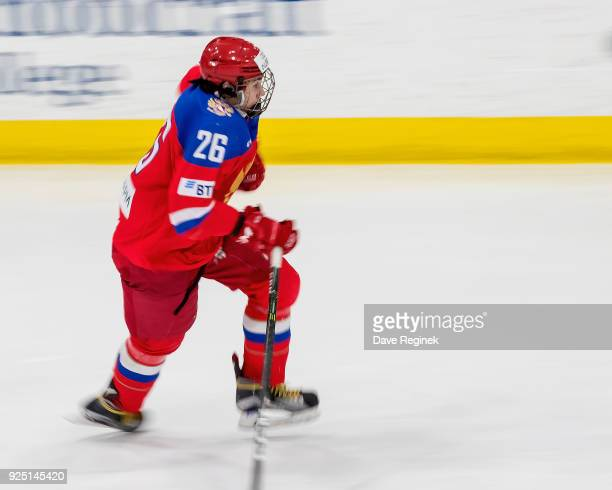 Alexander Romanov of the Russian Nationals skates up ice against the Finland Nationals during the 2018 Under18 Five Nations Tournament game at USA...