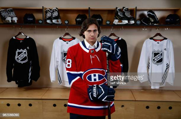 Alexander Romanov poses for a portrait after being selected 38th overall by the Montreal Canadiens during the 2018 NHL Draft at American Airlines...