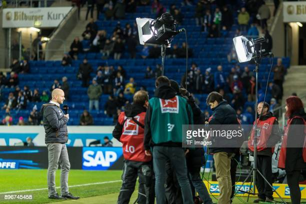 Alexander Rosen of Hoffenheim gives an interview prior to the Bundesliga match between TSG 1899 Hoffenheim and VfB Stuttgart at Wirsol...