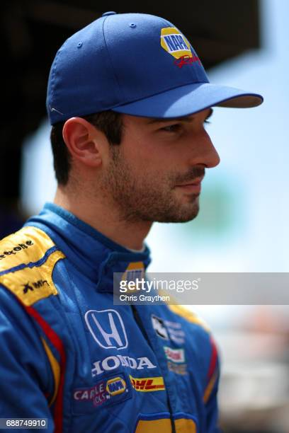 Alexander Rossi driver of the NAPA Honda stands on the grid during Carb day for the 101st Indianapolis 500 at Indianapolis Motorspeedway on May 26...