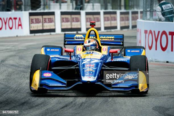 Alexander Rossi driving the Napa Autoparts Indy Car on his way to victory at the 2018 Toyota Grand Prix of Long Beach on April 15 2018 in Long Beach...