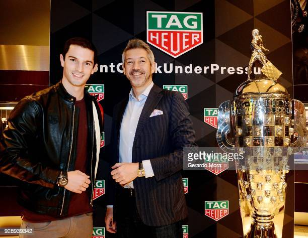Alexander Rossi TAG Heuer Ambassador and 2016 iNDIANPOLIS 500 Champion and Andrea Soriani VP of Marketing TAG Heuer North America attend the TAG...