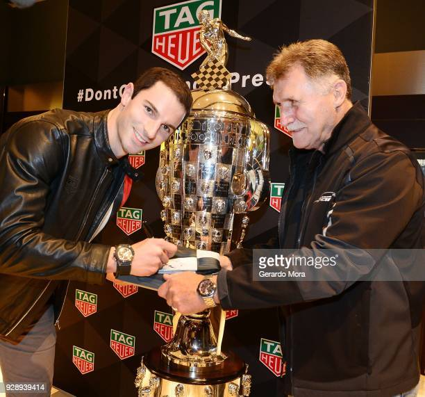 Alexander Rossi TAG Heuer Ambassador and 2016 iNDIANPOLIS 500 Champion attends the TAG Heuer Indy Car Season Kick off event on March 7 2018 in...