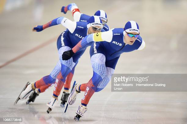 Alexander Rumyantsev Danila Semerikov and Sergey Trofimov of Russia compete during the Men's Team Pursuit on day one of the ISU World Cup Speed...