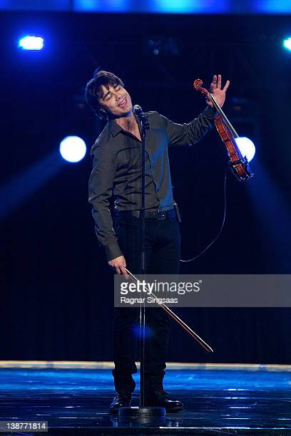 Alexander Rybak performs at the final of Melodi Grand Prix 2012 at Oslo Spektrum on February 11 2012 in Oslo Norway