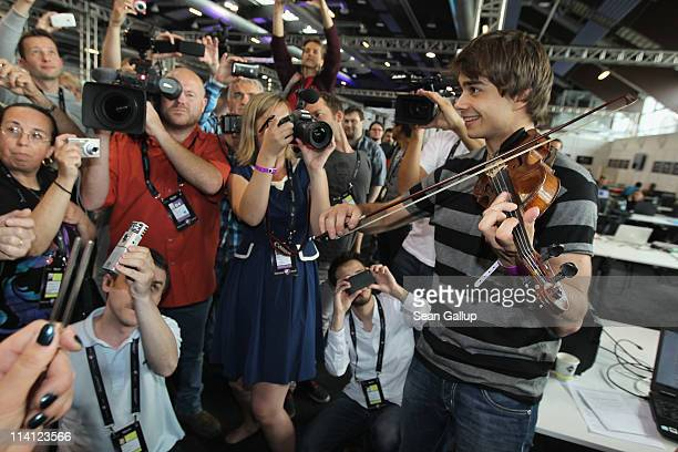 Alexander Rybak winner of the 2009 Eurovision Song Contest plays his violin in an impromptu jam in the press center at the 2011 Eurovision Song...