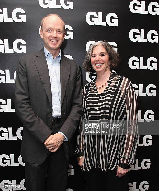 Alexander SaintAmand CEO of GLG and Gina Barnett attend the book release party for Gina Barnett's Play the Part at GLG on June 17 2015 in New York...