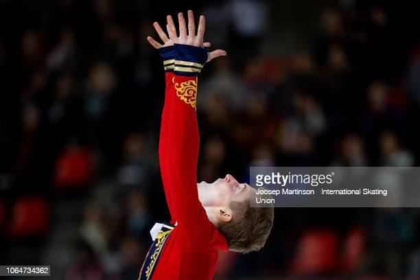 Alexander Samarin of Russia competes in the Men's Free Skating during day 2 of the ISU Grand Prix of Figure Skating Internationaux de France at...