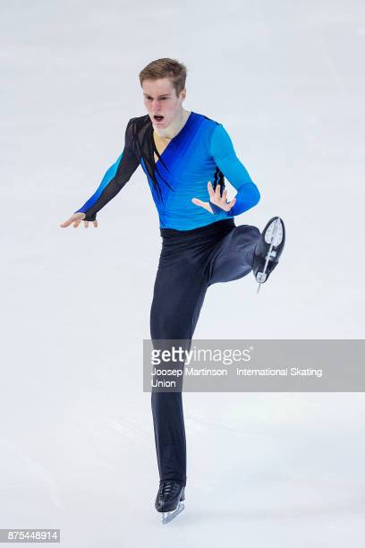 Alexander Samarin of Russia competes in the Men's Short Program during day one of the ISU Grand Prix of Figure Skating at Polesud Ice Skating Rink on...